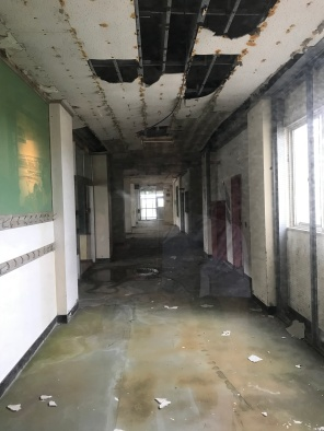 Inside the first floor of Arahama Elementary School - this section was sealed off due to the extensive damages caused by the 2011 tsunami